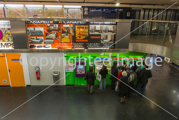 Paris, France, People Inside Metro Underground Subway Station, overview with Turnstiles