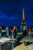 Paris, France, Tourists Visitng the Jardins du Trocadero, Eiffel Tower, Dusk