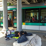 Paris, France, Homeless Man Sleeping in Metro Station