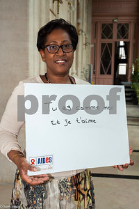 Paris, France, AIDS NGO AIDES, French People,, Holding Protest Signs Against Discrimination, Homophobia, Mairie du 3e
