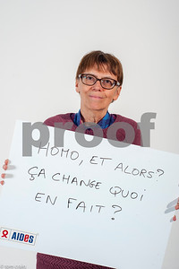 Paris, France, AIDS NGO AIDES Activists, Holding Protest Signs Against Discrimination, Homophobia