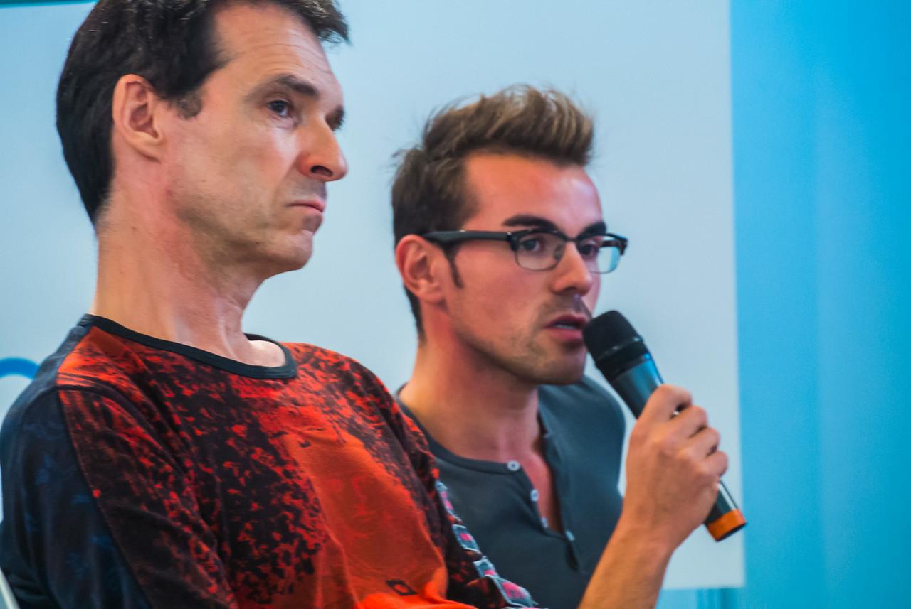 Paris, France, AIDS Prevention Conference, at Gay Life Salon, AIDES NGO Militants, Herve Bedoin (S.I.S.), Alan Leobon (I.V.S.), Herve La Tapie (Parlons Q), Hugues Fischer (Act Up), Tim Madesclaire (Prends Moi), Jeremy (Yagg.com) Aurelien (AIDES), 10/2013