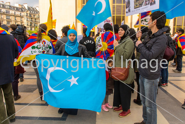 Paris, France,  Tibetians, Taiwanese, and  Ethnic Uighurs, in France, Protesting Visit of Chinese President XI, at Trocadero, 27/3/2014