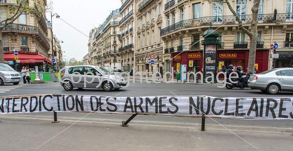 "Paris, France, Local Anti-Nuclear Organization Protesting Against Nuclear Weapons , at Minster of Defense Building, ""sortir-de-nuclear"", 4 April 2014"