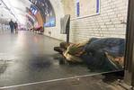 Paris, France, Homeless Man, Sleeping on Metro Quay, Porte de VIncennes Train Station, Winter