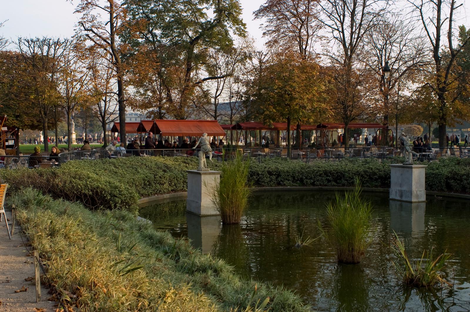 Paris, France, Public Parks, Tuileries Park, in Autumn, People Promenading, Panoramic VIew