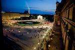 Paris, France, Le Louvre Museum, General View at Dusk Outside Window,