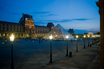 Paris, France, Le Louvre Museum, General View at Dusk Outside Window, Pyramid by I.M. Pei